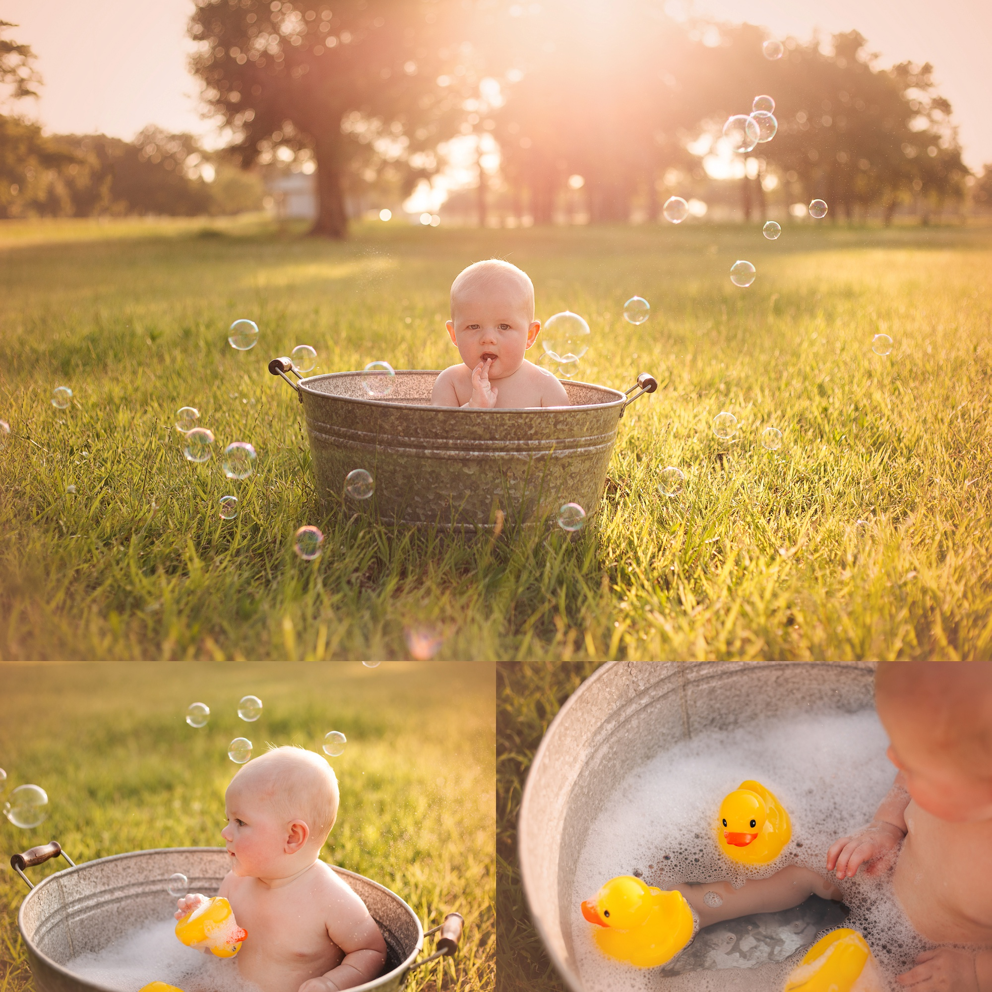 Outdoor Bubble Bath Sitter Session | Cypress Milestone Photographer ...