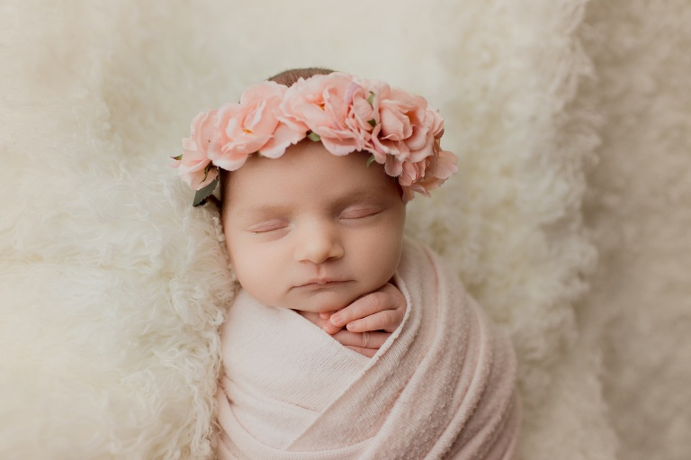 Newborn girl photography pose ideas